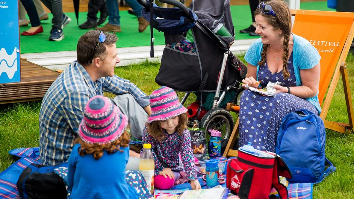 family picnic at hay festival