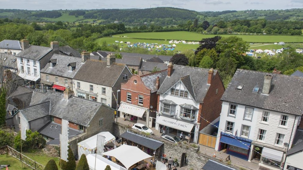Hay-on-Wye town in summer