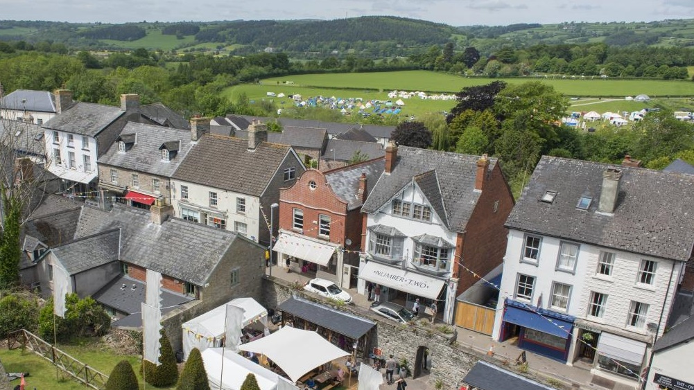 Hay-on-Wye town centre in summer