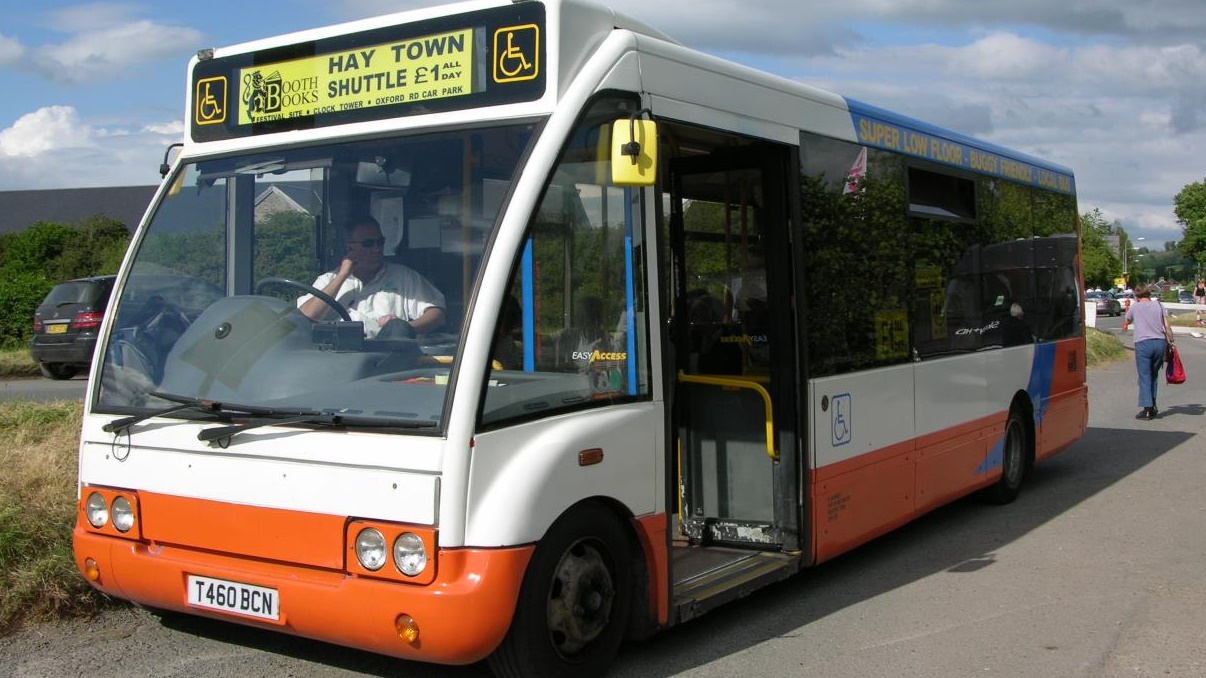Park and ride shuttle bus at Hay Festival