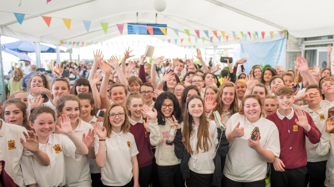 Large group of schoolchildren at Hay Festival