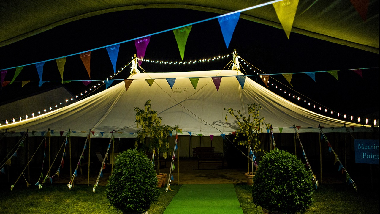 Festival marquee at night