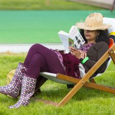 Reading in deckchair